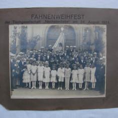 Fotografie mare inscriptionata FAHNENWEIHFEST 24 august 1924 - Fotografie veche