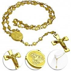 Colier auriu din oțel cu medalion cu Fecioara Maria și cruce - Colier inox