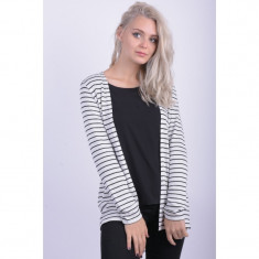 Cardigan Vero Moda New Vmnana Long Open Snow White Stripe Black Stripe - Pulover dama Vero Moda, Marime: M, Culoare: Alb, Vascoza