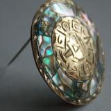 Brosa/Pandant argint vintage cu Scoica ABALON