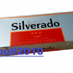 Tuburi SILVERADO ROSU 200 tuburi injectat tutun/tabac, filtre tigari - Foite tigari
