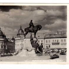 CLUJ BANCA COMERCIALA ITALIANA STATUIA REGELUI MATYAS KOLOZSVAR - Carte Postala Transilvania dupa 1918, Circulata, Fotografie
