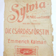 (T) Partitura muzicala veche - Sylvia - Die Madis vom Chantant - Lied - Opereta