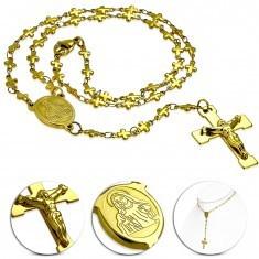 Colier auriu din oţel 316L cu medalion Sfânta Maria şi cruce - Colier inox
