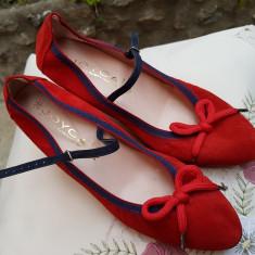 PANTOFI DAMA DIN PIELE NATURALA INTOARSA, JOYCA SPANIA, MARIME 40 - Pantof dama, Culoare: Rosu, Piele intoarsa, Cu toc