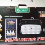 Kit Solar Lampa 12LED SMD, Telecomanda, USB, 3 Becuri, 6V2.4Ah - GD8054 - Panou solar