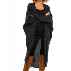 Pulover pentru femei, tricotat, lung, asimetric, negru, stil cardigan - 30053C - Pulover dama, Acril