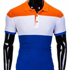 Tricou pentru barbati polo, in 3 culori, slim fit, casual - S833-portocaliu - Tricou barbati, Marime: S, M, XL, XXL