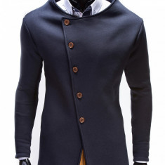 Hanorac pentru barbati, bleumarin, stil palton, inchidere laterala, nasturi, casual, slim fit - B310