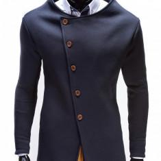 Hanorac pentru barbati, bleumarin, stil palton, inchidere laterala, nasturi, casual, slim fit - B310 - Hanorac barbati, Marime: S, XL