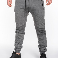 Pantaloni pentru barbati, gri-inchis, fermoare decorative, banda jos, cu siret, bumbac - p465 - Pantaloni barbati, Marime: S, M, L, XL, XXL