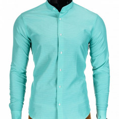Camasa pentru barbati, verde, tunica, casual, slim fit, guler mic - k348 - Camasa barbati, Marime: S, M, L, Maneca lunga