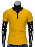 Tricou pentru barbati, galben simplu, slim fit, mulat pe corp, bumbac - S651, L, M, S, XL, XXL
