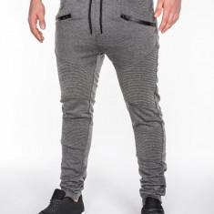 Pantaloni pentru barbati de trening, gri-inchis, buzunare laterale, fermoare decorative, banda jos, cu siret, bumbac - p427 - Pantaloni barbati, Marime: L, XL, XXL