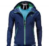 Jacheta pentru barbati, din fâș, slim fit, cu fermoar si gluga C203-bleumarin, L, M, S