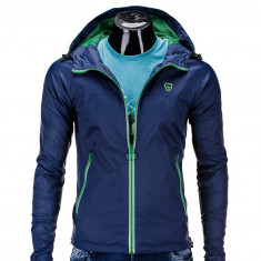 Jacheta pentru barbati, din fâș, slim fit, cu fermoar si gluga C203-bleumarin - Jacheta barbati, Marime: S, M, L
