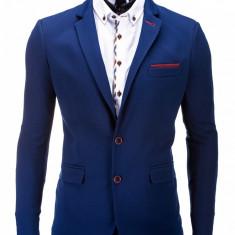 Sacou pentru barbati, bleumarin, casual, slim fit, cu buzunare aplicate, elegant, inchidere doi nasturi - M36 - Sacou barbati, Marime: S, XL