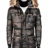 Geaca pentru barbati, de iarna, camuflaj, stil militar, army, impermeabila, fermoar, model slim, buzunare laterale - c318, S