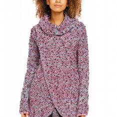 Pulover pentru femei, tricotat, lung, asimetric, roz-1, stil cardigan - 70001 - Pulover dama, Acril