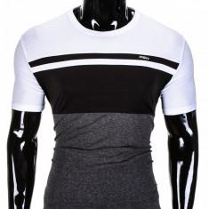 Tricou pentru barbati, in 3 culori, slim fit, sport - S844-negru/gri-inchis - Tricou barbati, Marime: S, XXL