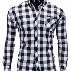 Camasa pentru barbati, negru, in carouri mari, slim fit, casual, elastica, cu guler, buzunar piept - k282