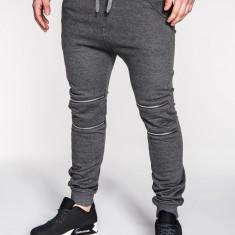 Pantaloni pentru barbati de trening, gri-inchis, cu banda jos, cu tur, siret, bumbac - P163 - Pantaloni barbati, Marime: M, L