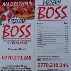 Pizza Boss pizzerie cu livrare la domiciliu din Grosi si livram pina la 15 km
