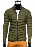 Geaca pentru barbati, verde, stil militar, army, impermeabila, fermoar, model slim - c299, M, S, XXL