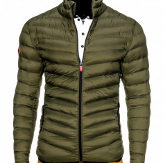 Geaca pentru barbati, verde, stil militar, army, impermeabila, fermoar, model slim - c299 - Jacheta barbati, Marime: S, M, XXL