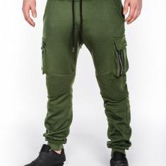 Pantaloni pentru barbati, verde, buzunare laterale, banda jos, cu siret, bumbac - p462 - Pantaloni barbati, Marime: S, M, L