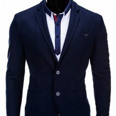 Sacou pentru barbati, bleumarin, casual, slim fit, cu buzunare aplicate, elegant, inchidere doi nasturi - M57 - Sacou barbati, Marime: M, XL