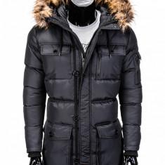Geaca pentru barbati, de iarna, negru, impermeabila, fermoar, model slim, buzunare laterale - c318