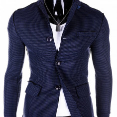 Jacheta stil sacou pentru barbati, bleumarin, inchidere doi nasturi, buzunare aplicate, casual, slim fit - M58 - Jacheta barbati, Marime: M