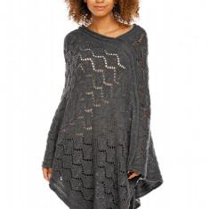 Pulover pentru femei, tricotat, lung, asimetric, gri-inchis. stil cardigan - 30012 - Pulover dama, Acril