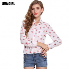 Camasa pentru femei, moderna, slim fit, imprimeu buze rosii - dama0 - Camasa dama, Marime: S, M, L, Maneca lunga, Casual, Alb