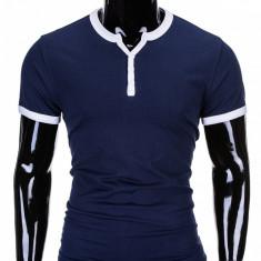 Tricou pentru barbati, bleumarin simplu, slim fit, mulat pe corp, bumbac - S651 - Tricou barbati, Marime: S, XXL
