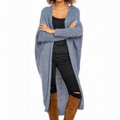 Pulover pentru femei, tricotat, lung, asimetric, albastru, stil cardigan - 30053C - Pulover dama, Acril