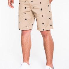 Pantaloni scurti pentru barbati, bej, casual, model de vara, elegant, buzunare laterale - W036 - Bermude barbati, Marime: XXL