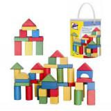 Jucarie Galeata cu cuburi colorate din lemn 100 pcs Woody