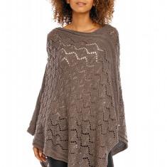 Pulover pentru femei, tricotat, lung, asimetric, maro. stil cardigan - 30012 - Pulover dama, Acril