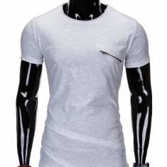 Tricou pentru barbati, lung, in colturi, fermoar decorativ, slim fit, mulat - S696 - Gri - Tricou barbati, Marime: L, XL, XXL