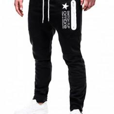 Pantaloni pentru barbati de trening, negru, fermoare, banda jos, cu siret, bumbac - p420 - Pantaloni barbati, Marime: S, M, L