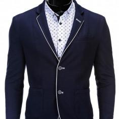 Sacou pentru barbati, bleumarin, casual, slim fit, cu buzunare aplicate, elegant, inchidere doi nasturi - M81 - Sacou barbati, Marime: S, M, L, XL