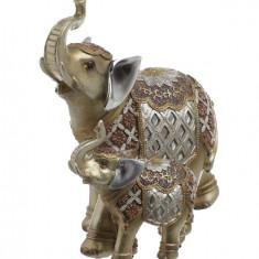 Elefant cu pui auriu color 20.5x10.5x21 cm, Cod Produs:2235 - Figurina/statueta