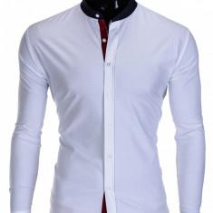 Camasa pentru barbati, alba, tunica, casual, slim fit, guler bleumarin - k308 - Camasa barbati, Marime: S, M, L, Maneca lunga