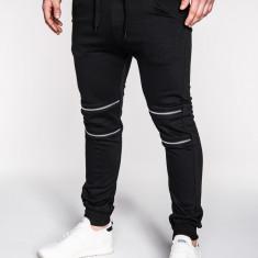 Pantaloni pentru barbati de trening, negru, cu banda jos, cu tur, siret, bumbac - P163 - Pantaloni barbati, Marime: M, L