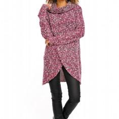 Pulover pentru femei, tricotat, lung, asimetric, roz, stil cardigan - 70001 - Pulover dama, Acril
