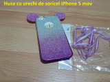 Husa cu urechi de soricel IPhone 5 mov, iPhone 6/6S, Transparent, Silicon, Apple
