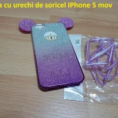 Husa cu urechi de soricel IPhone 5 mov - Husa Telefon Apple, iPhone 6/6S, Transparent, Silicon