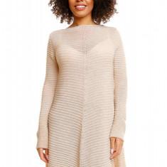 Pulover pentru femei, tricotat, lung, asimetric, bej - 30046 - Pulover dama, Acril